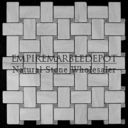 Bianco Carrara Marble Basketweave Mosaic Tile Bardiglio Gray Dots Honed