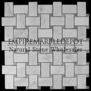 Bianco Carrara Marble Basketweave Mosaic Tile Bardiglio Gray Dots Polished