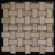 Classic Ivory Travertine Basketweave Mosaic Tile with Noce Travertine Dots Honed