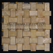 Honey Onyx Basketweave Mosaic Tile with Golden Tobacco Dots Polished