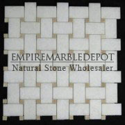 Statuary Crystal Marble Basketweave Mosaic Tile with Crema Marfil Dots Polished