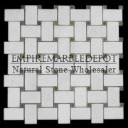 Statuary Crystal Marble Basketweave Mosaic Tile with Green Dots Polished