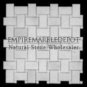 Statuary Crystal Marble Basketweave Mosaic Tile with Statuario Dots Polished
