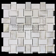Calacatta Gold Italian Marble Basketweave Mosaic Tile with Calacatta Oro Dots Honed