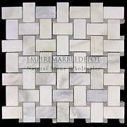 Calacatta Gold Italian Marble Basketweave Mosaic Tile with Pistachio Green Dots Honed