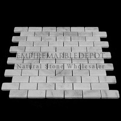 Carrara marble italian white bianco carrera 1x2 mosaic for Carrara marble per square foot