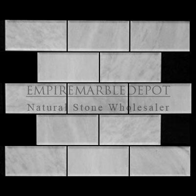 3x6 subway tile beveled honed white carrara marble italian for Carrara marble per square foot