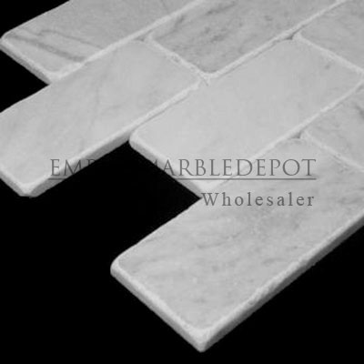 Bon Carrara Marble Italian White Bianco Carrera 3x6 Marble Subway Tile Tumbled