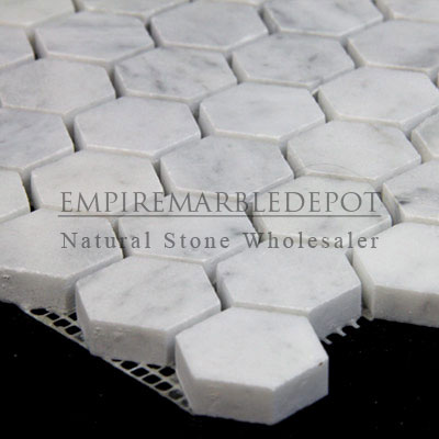 Carrara Marble Italian White Bianco Carrera 1 Inch Hexagon Mosaic Polished