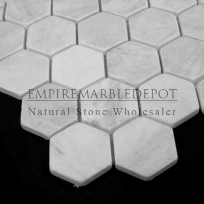 Hexagon Mosaic Tile Tumbled White Carrara Marble Bianco Carrera - 2 carrara marble hexagon floors